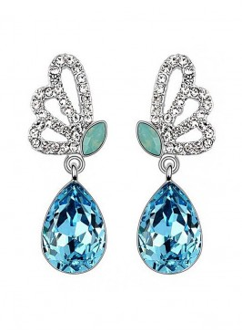 Aqua Fly Crystal Drop Earrings