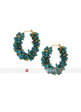 Aqua Pearl Hoop Earrings