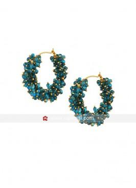 Aqua Pearl Hoop Earrings