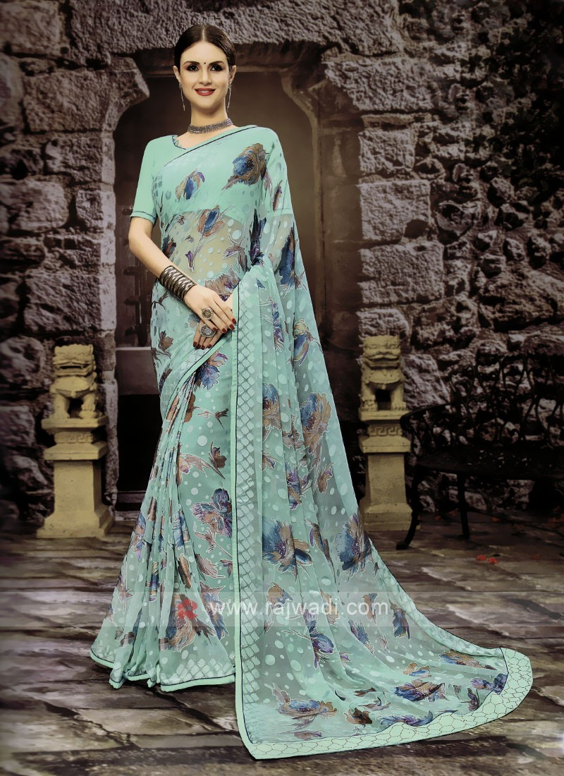 Aquamarine Color Floral Printed Saree