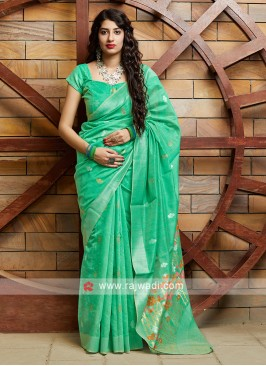Aquamarine Cotton Silk Saree