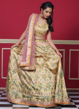 Arresting Silk Swarovski Yellow Readymade Lehenga Choli