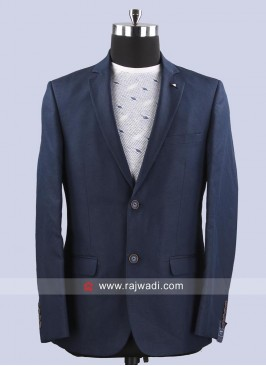 Arrow Dark Blue Terry Rayon Fabric Blazer