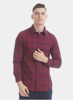 Arrow Men Red Slim Fit Check Casual Shirt