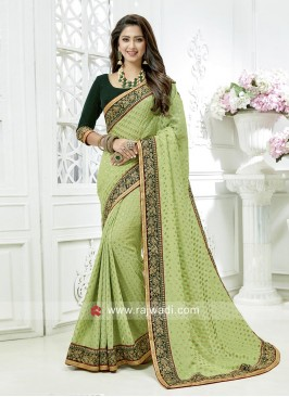 Art Banarasi Silk Saree with Embroidered Border