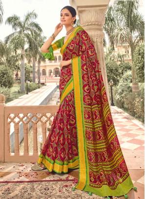 Art Dola Silk Saree In Rani And Mehndi Color