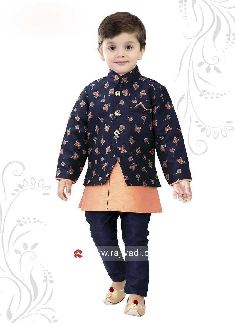 Art Fabric Indo Western With Navy Bottom