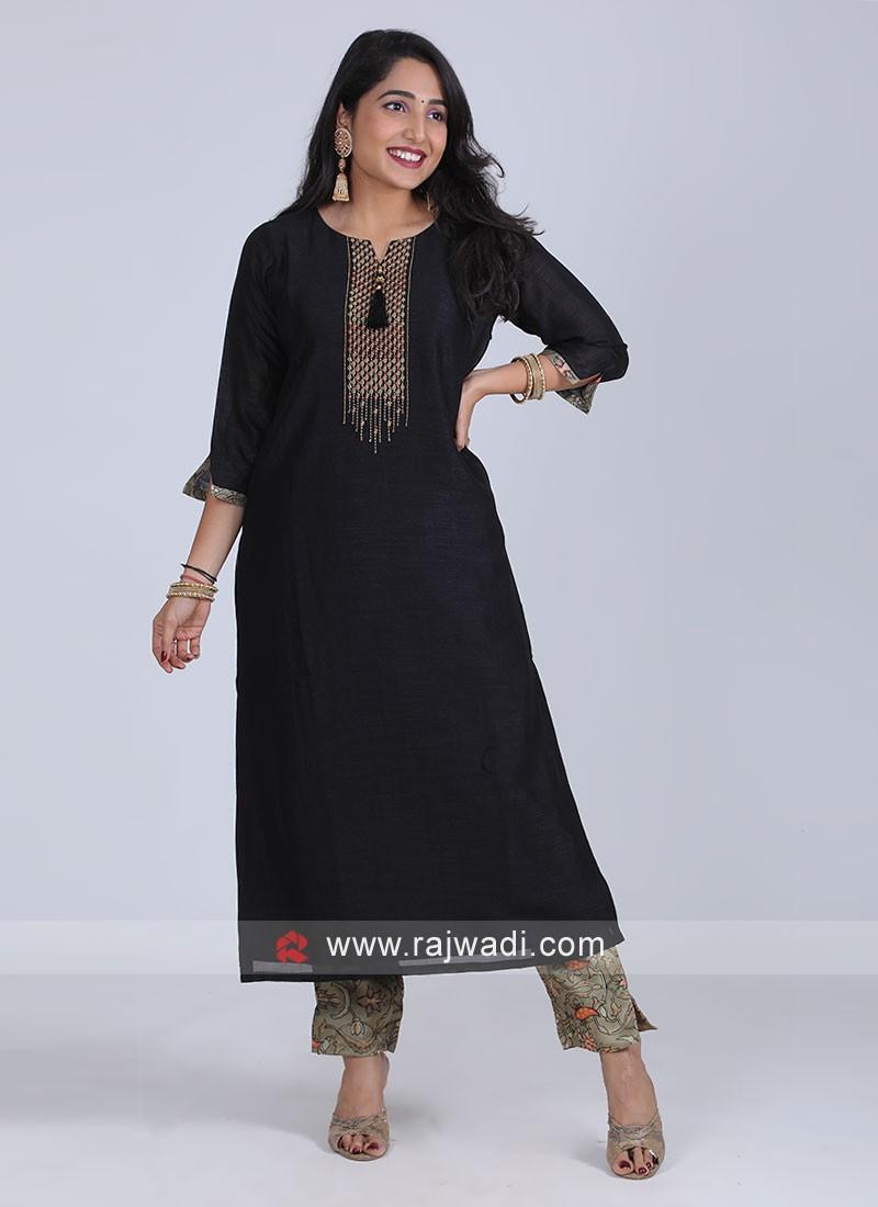 Art Raw Silk Black Color Kurti Set
