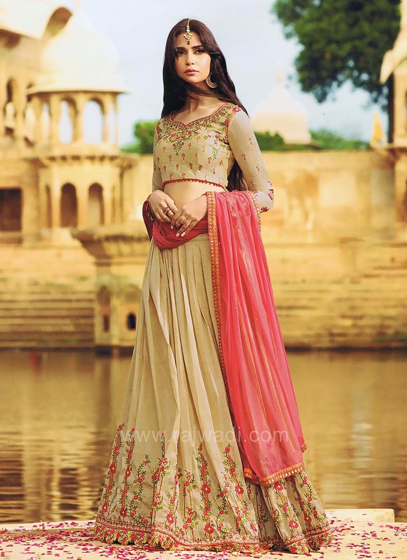 Art Raw Silk Embroidered Lehenga Set with Dupatta