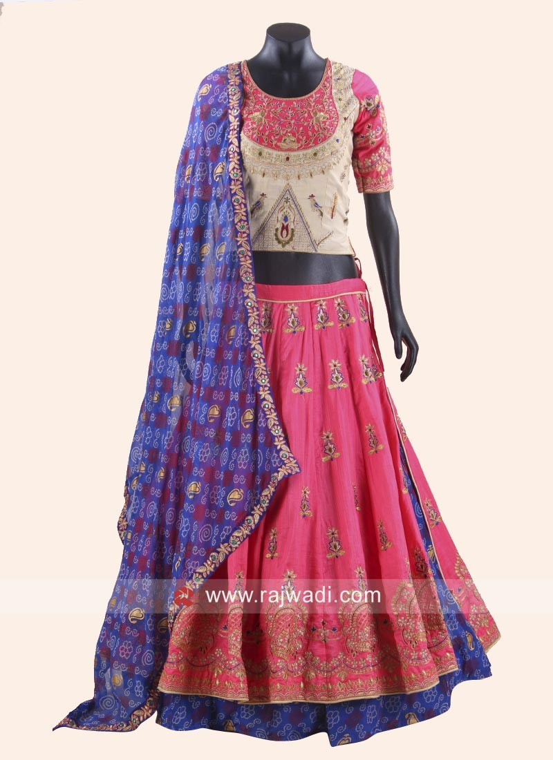 Art Raw Silk Kutchi Work Chaniya Choli