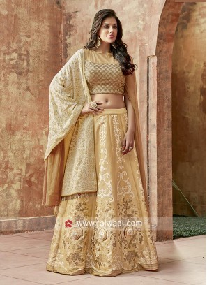 Art Raw Silk Lehenga Choli in Golden