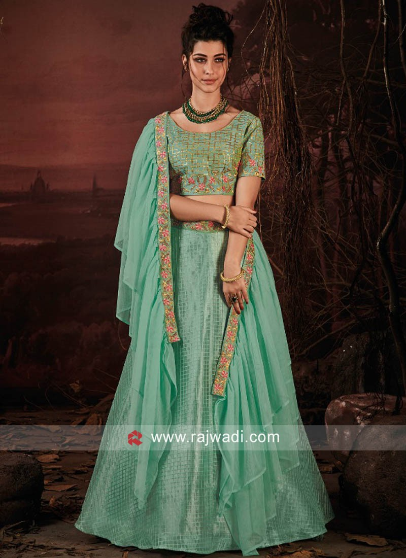 Art Raw Silk Lehenga Choli in Lime