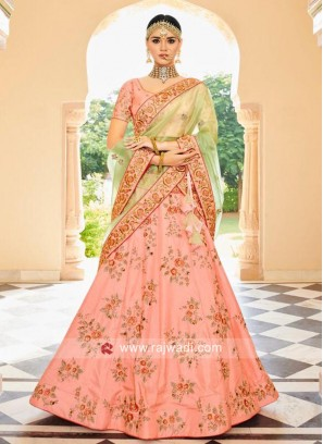 Art Raw Silk Lehenga Choli in Peach