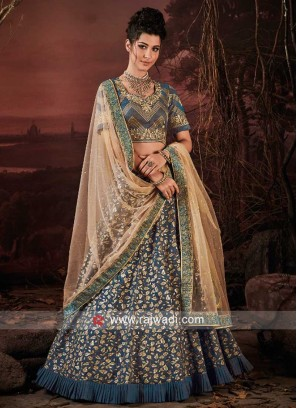 Art Raw Silk Lehenga in Peacock Blue