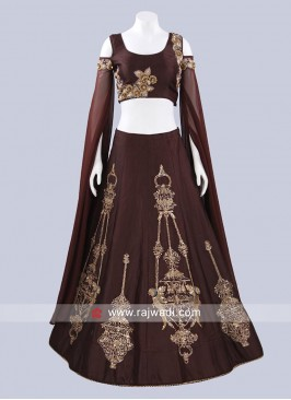 Art Raw Silk Lehenga with Long Slit Sleeves
