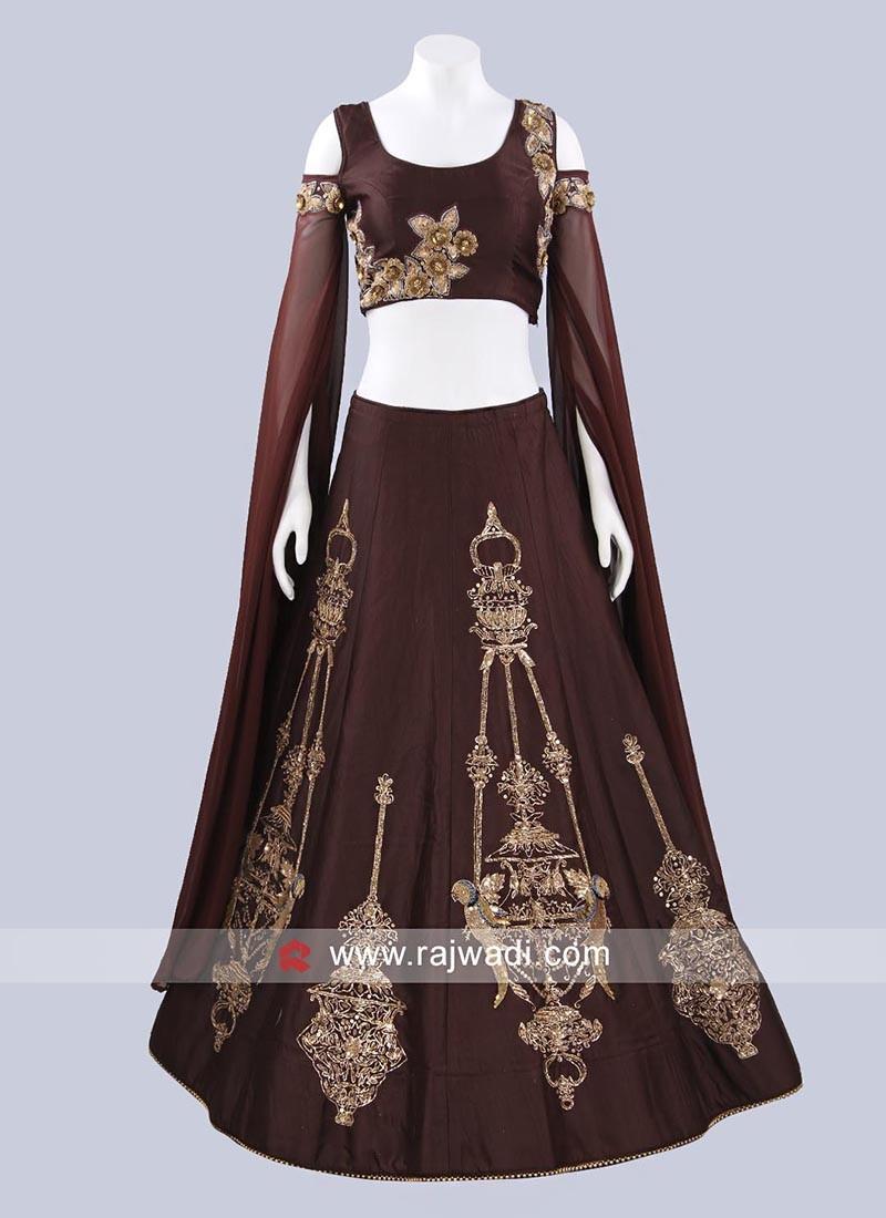 Art Raw Silk Lehenga with Long Slit Sleeves