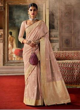 Art Raw Silk Traditional Saree In Peach Puff Color
