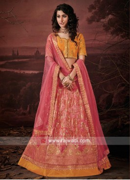 Art Raw Silk Unstitched Lehenga Set