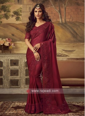 Art Satin Silk Border Work Saree in Red