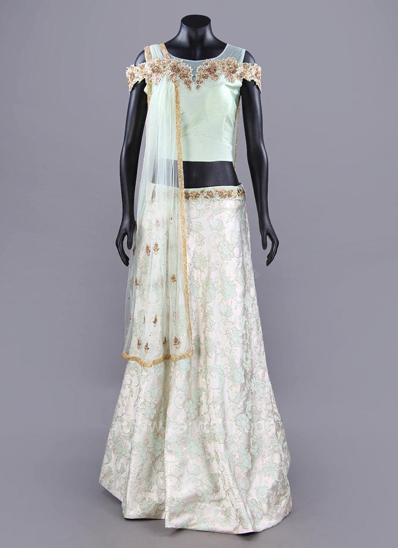 Art Satin Silk Cold Shoulder Choli Set