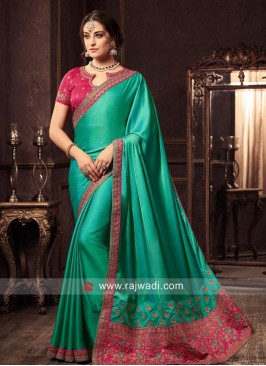 Art Satin Silk Designer Sari