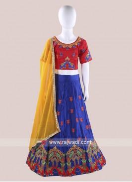 Art Satin Silk Embroidered Chaniya Choli