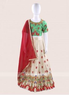 Art Satin Silk Embroidered Choli Suit