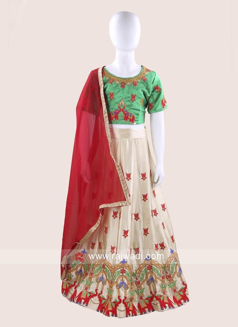 Art Satin Silk Embroidered Choli Suit