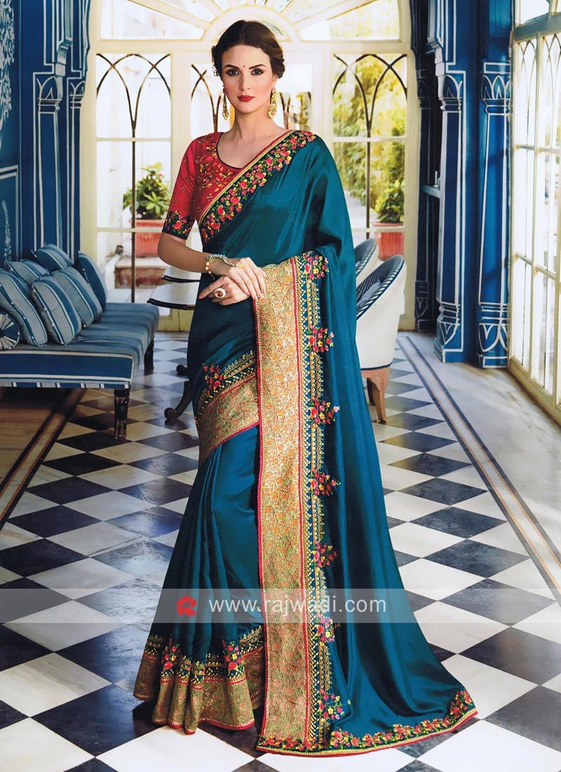 Art Satin Silk Embroidered Saree