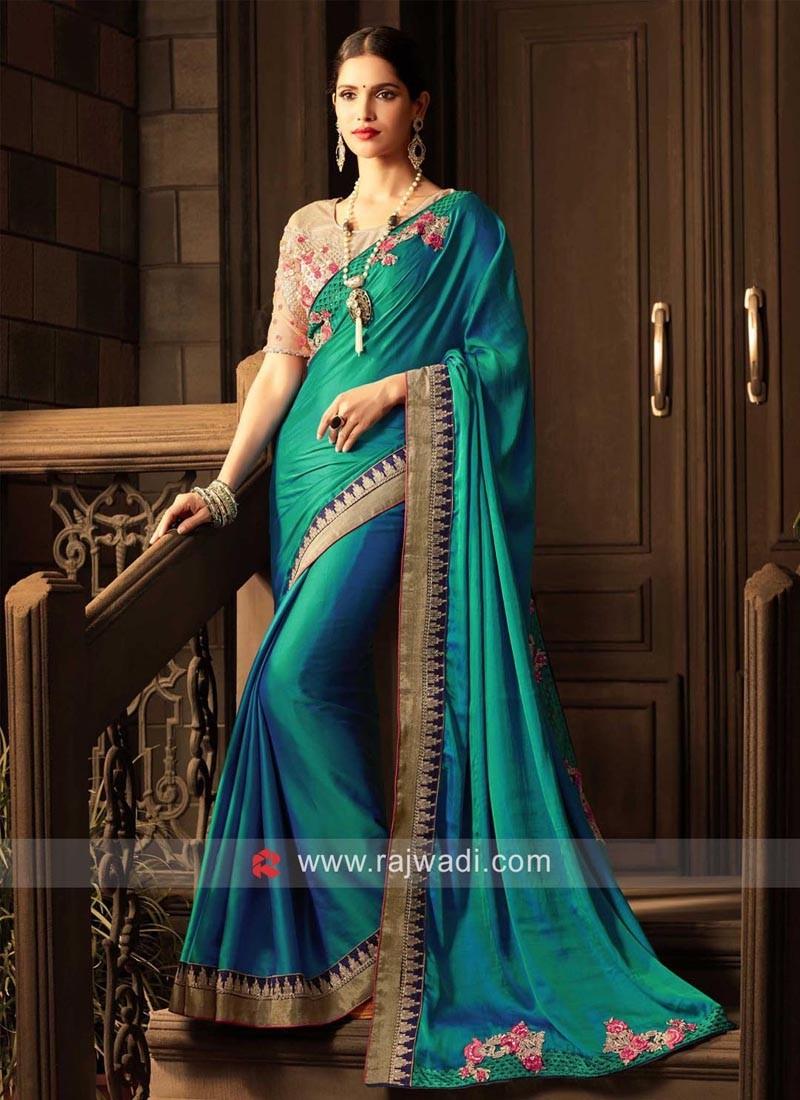 Art Satin Silk Embroidered Saree