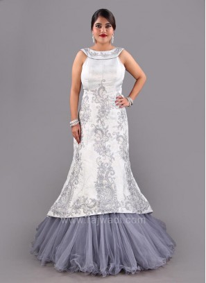 Art Satin Silk Fish Cut Style Sheer Gown