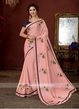 Art Satin silk Floral Print Pink saree