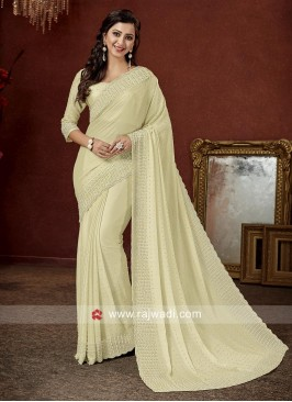 Art Satin Silk Golden Cream Saree