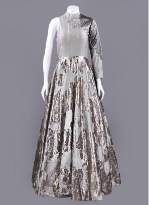 Art Satin Silk One Shoulder Gown