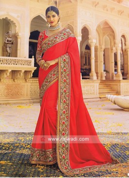 Art Satin Silk Patch Work Sari in Red