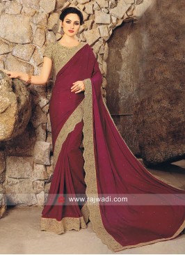 Art Satin Silk Plain Saree