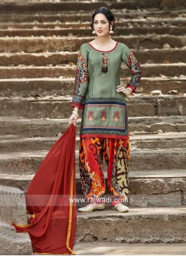 Art Satin Silk Printed Salwar Kameez