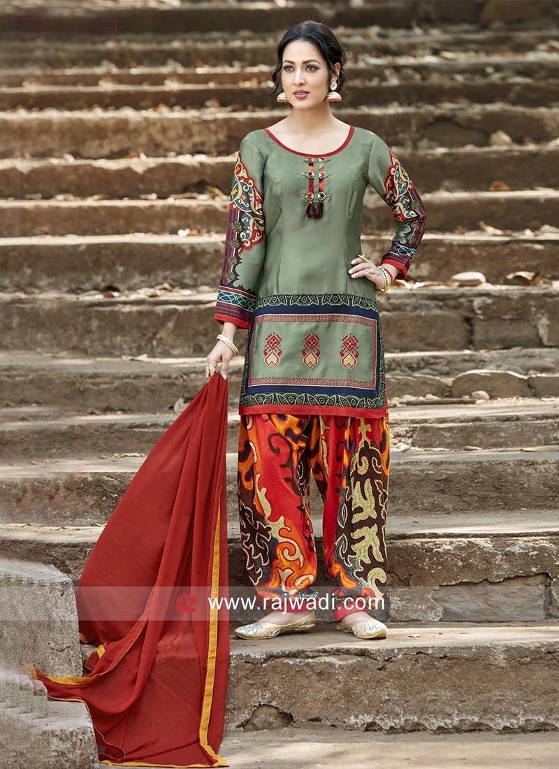 Art Satin Silk Printed Salwar Kameez