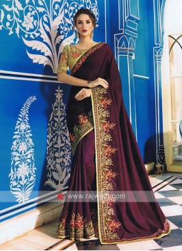 Art Satin Silk Saree with Flower Work Border