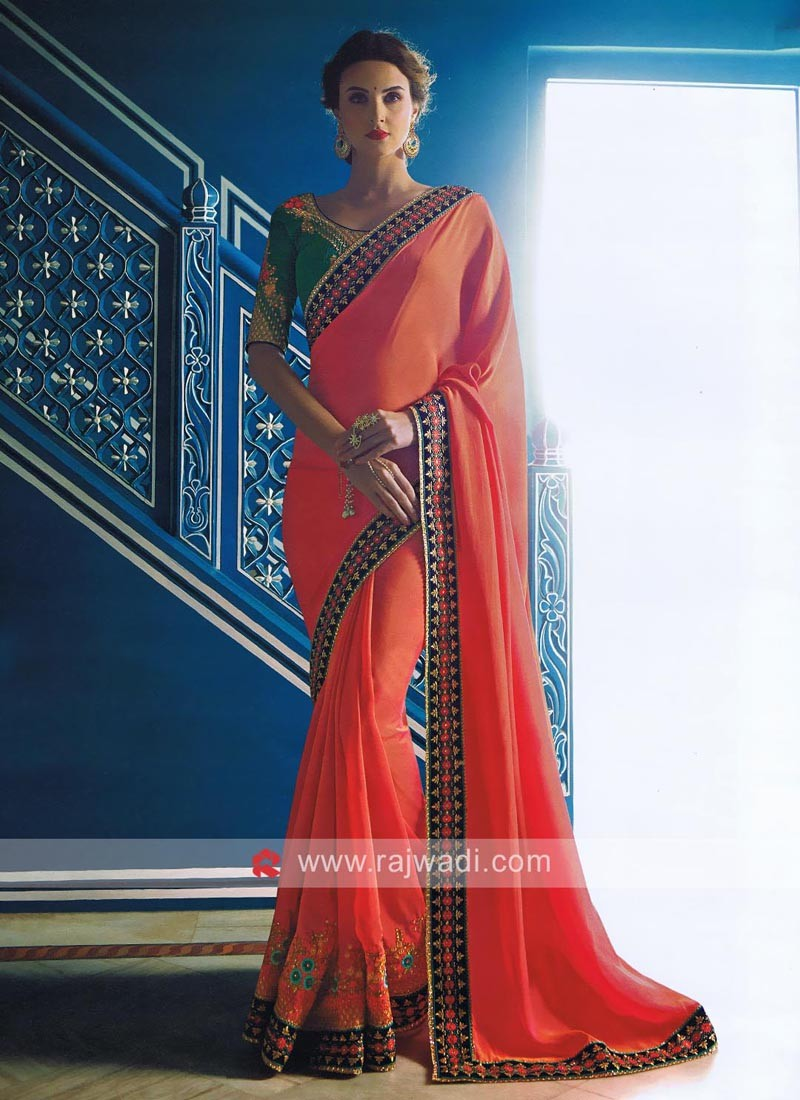 Art Satin Silk Sari in Dark Peach