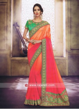 Art Satin Silk Shaded Wedding Saree