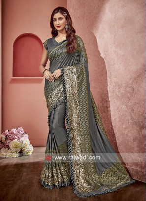 Grey Saree in Lycra Fabric