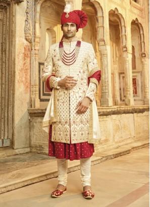 Art Silk Anarkali Style Groom Sherwani