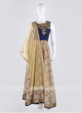 art silk anarkali suit in beige and blue