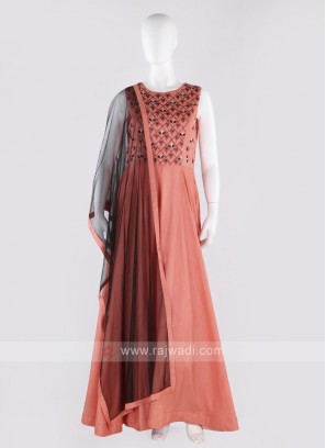 art silk anarkali suit in peach color