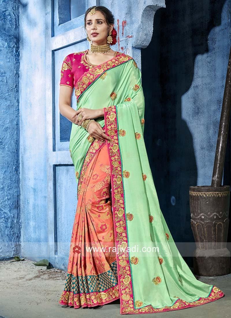 a16094bcc03f4 Art Silk and Banarasi Silk Half n Half Saree. Tap to expand