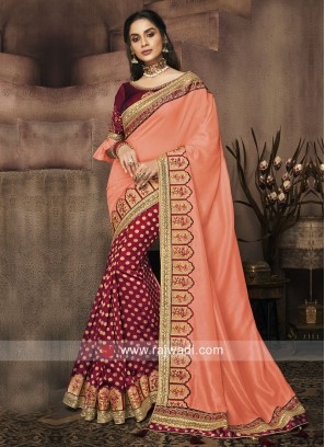 Art Silk and Banarasi Silk Half n Half Saree