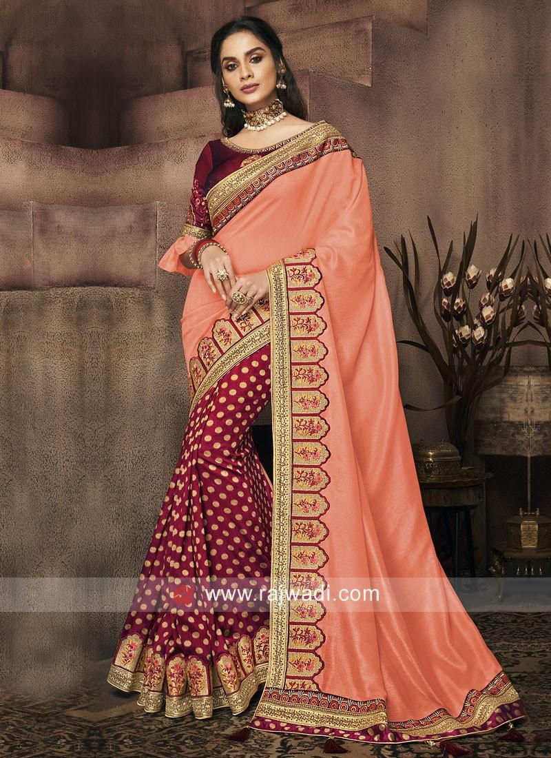 Art Silk and Banarasi Silk Half n Half Saree