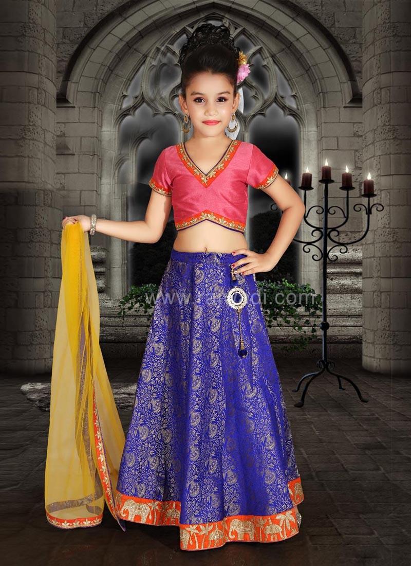 Art Silk and Brocade Designer Choli Suit