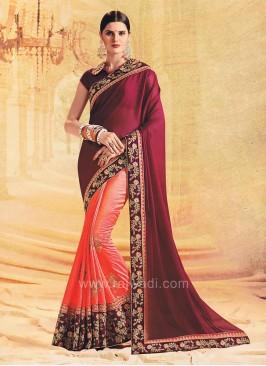 Art Silk and Chiffon Silk Embroidered Half Saree